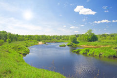 Beautiful summer landscape. river and meadow Stock Images
