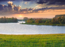 Beautiful summer landscape on the river Stock Photos