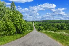 Beautiful summer landscape with a road to perspective.  stock photo