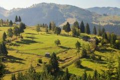 Beautiful summer landscape of the romanian village Royalty Free Stock Photo
