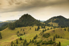 Beautiful summer landscape of the romanian village Stock Images