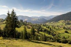 Beautiful summer landscape of the romanian village Stock Photos