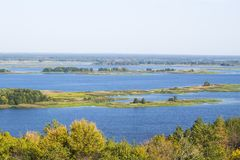 Beautiful summer landscape, small river panorama with trees Royalty Free Stock Photography