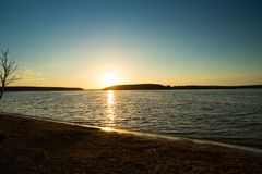 Sunrise Over Wide River With Blue Sky. Stock Photo