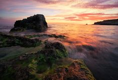 Beautiful summer landscape with sunset, colorful sky and sea Stock Image