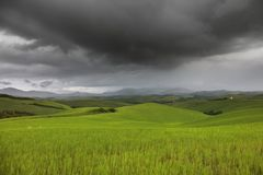 Beautiful summer landscape in Tuscany in a stormy day royalty free stock image
