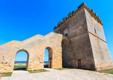 Torre Lapillo, Salento sea coast, Italy. Picturesque historical fortification tower Torre Lapillo (St. Thomas Tower, Torre di San Tommaso) on Salento Stock Photos