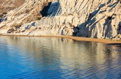 "Scala dei Turchi, Agrigento, Italy. Sandy beach under famed white cliff, called ""Scala dei Turchi"", in Sicily, near Agrigento, Italy Stock Photography"
