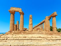 Agrigento, ancient, archaeological, archeology, architecture, colonnade, columns, culture, doric, Europe, famous, Greece, greek, h. Temple of Juno in famous Royalty Free Stock Photos