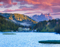 Beautiful summer morning on the Lake Misurina, in Italy Alps, Tr Stock Images