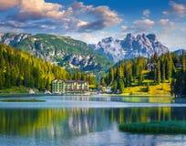 Beautiful summer morning on the Lake Misurina Royalty Free Stock Images