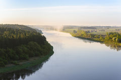 A beautiful summer morning over the Nemunas river. Royalty Free Stock Image