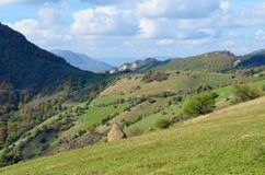 Beautiful Summer Mountain Landscape with Forested  Hills. Mountainous landscape with forested hills. Beautiful summer scenery in Rhodope Mountains , Bulgaria Stock Images
