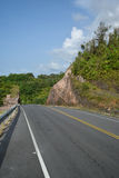 Beautiful summer mountain road with trees. Orange rocky mountain next to the road Stock Photography
