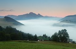 Beautiful summer mountains landscape with mist Royalty Free Stock Photo
