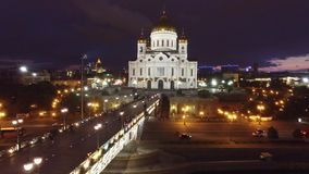 Beautiful summer night Cathedral of Christ the Saviour Moscow center view. Near Kremlin and tourist attractions. Cruise ship. 4k footage. Aerial drone quadcopter stock video footage