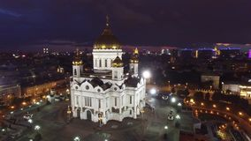 Beautiful summer night Cathedral of Christ the Saviour Moscow center view. Near Kremlin and tourist attractions. 4k footage. Aerial drone quadcopter stock video