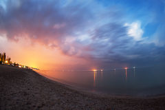 Beautiful summer night at the sea with blue sky and clouds Stock Photography