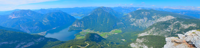 Beautiful summer panorama landscape with mountains and river royalty free stock photo