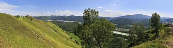 Beautiful summer panorama from the top of the mountain Stock Image