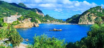 Beautiful summer panoramic seascape. View of the coastline into. The sea bays with crystal clear azure water. Paleokastrica. Corfu. Ionian archipelago. Greece royalty free stock photos