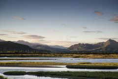 Beautiful Summer panoramic view from Porthmadog Cob towards Snow Stock Photo