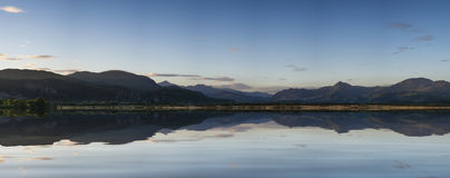 Beautiful Summer panoramic view from Porthmadog Cob towards Snow Stock Photography