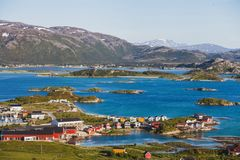 Sommaroy island in Norway. Beautiful summer panoramic view of Sommaroy island in Norway Stock Image