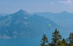 Beautiful summer panoramic view of the Swiss Alps. Lake Lucerne in the background stock photos