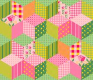 Beautiful summer patchwork pattern. Seamless background in pink and green tones. Royalty Free Stock Photography