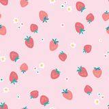Beautiful summer pattern with Strawberries and Flowers. Abstract botanical texture on pink background. Strawberry background for royalty free stock photos