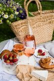 Beautiful Summer Picnic With Strawberries, Cheese And Rose Wine On The Lawn In The City Park Royalty Free Stock Photos