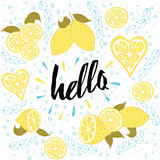 Beautiful summer posters with fruit, leaves and hand written text. stock illustration