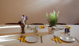Beautiful summer room interior with table set for dinner Royalty Free Stock Photography