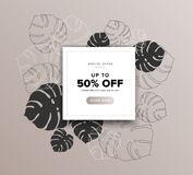 Beautiful summer sale discount tag banner with tropical and exotic monstera palm leaves drawing background royalty free illustration
