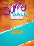 Summer sale lettering template banner. Beautiful  Summer sale lettering template banner Stock Photos