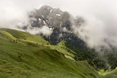Beautiful summer scenery of the Dolomites with the Marmolada mas Royalty Free Stock Photo