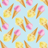 Beautiful summer seamless pattern with a fresh ice-cream cone. T Royalty Free Stock Photo