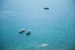 Beautiful summer seascape with three boats with people recreation tour Royalty Free Stock Photos