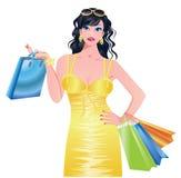 Beautiful summer shopping girl. Royalty Free Stock Image