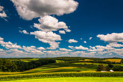 Beautiful summer sky over farm fields in Southern York County, P Royalty Free Stock Images