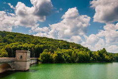 Beautiful summer sky over Prettyboy Reservoir and Dam, in Baltim. Ore County, Maryland Royalty Free Stock Photos