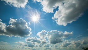 Beautiful summer sun. clouds on blue sky. time lapse -Time Lapse stock video