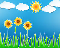 Beautiful summer sunflowers and sun. Vector paper cutout style illustration of beautiful summer field with sunflowers, blue sky, clouds and sun Stock Photos
