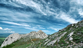 Beautiful summer sunny day with clouds. Crimea mountains. Ukraine Stock Image