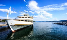 Beautiful Summer Sunny Day View Of Zurichsee Lake Zurich With Cruise Ship At The Zurich Pier And Blank Space On The Right Side Royalty Free Stock Image