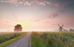 Beautiful summer sunrise on Dutch farmland Royalty Free Stock Image