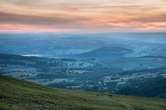 Beautiful Summer sunrise landscape of Brecon Beacons National Pa Stock Images
