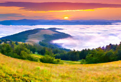 Beautiful summer sunrise in the mountains. Stock Photos