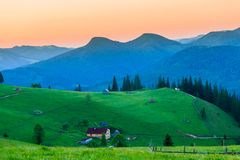 Beautiful summer sunrise in mountains. Royalty Free Stock Image